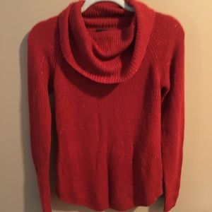 BCX Cowl Neck Red Sparkly Sweater